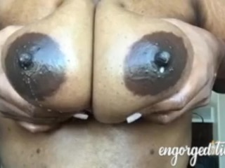 Dark-hued first-timer mummy with good-sized dark areolas lactating