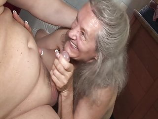 Shameless romp with grandma in the douche