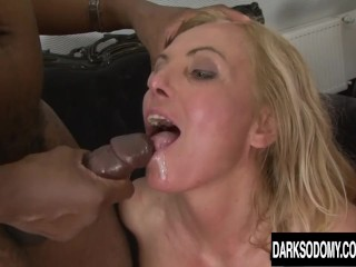 Four ginormous dark-hued knobs in four cock-squeezing milky buttholes
