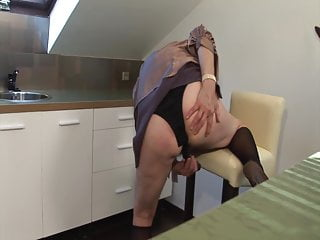 Grandma caught fapping in the kitchen!