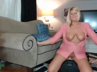 Fabulous FULL-BODIED TALL platinum-blonde female SMOKING WITH udders uncovered (SOLO)