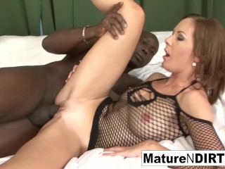 Brown-haired cougar milks before taking a big black cock