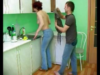 Red-haired cougar pounded in the Kitchen