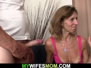 Suntanned aged mommy opens up gams for his husband