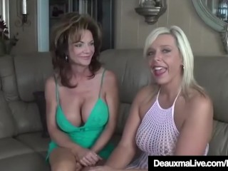 Texas Cougar Deauxma Licks Pussy forth Milf Carey Riley!