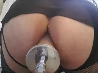 Sissy knuckle pounded by fuckin' machine