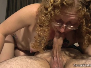 All-natural crimson Head Ivy deep throats husband off until his spunk-pump pulsates in her jaws