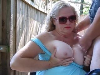 Outdoor boob jizz shot