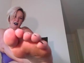 Female dom Makes sub gobble soles point of view