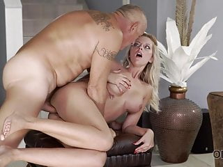 OLD4K. Smoothly-shaven father actively smashes big-boobied domme...